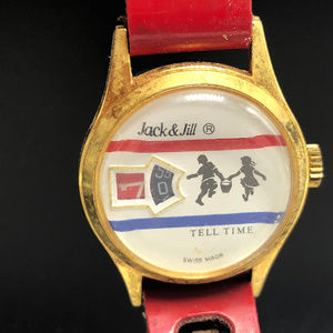 Jack and Jill wristwatch 1970s watch Tell Time red